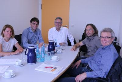 Gespräch mit Jo Dreiseitel am 26.7.2017 (v.l.n.r.: Petra Neubert, Jonas Schönefeld, Jo Dreiseitel, Jörg Friedrich, Walter Braner)